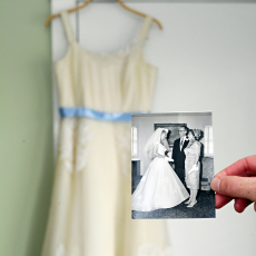 Old wedding photo with the modern new dress.